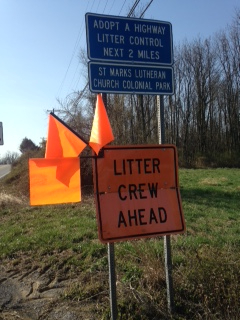 Adopt a Highway litter control sign