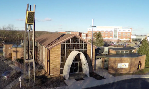 aerial view of the front entrance to st. mark's evangelical lutheran church